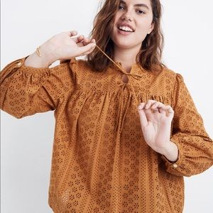 New Madewell Eyelet Double-Tie Peasant Top XS